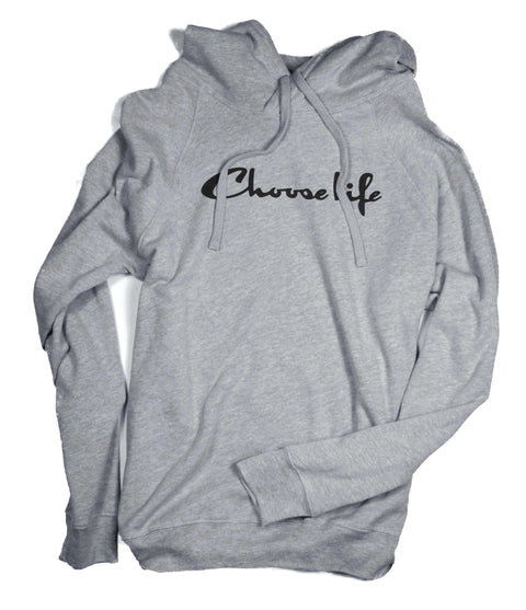 CHOOSE LIFE GRAY CROSSOVER HOODIE