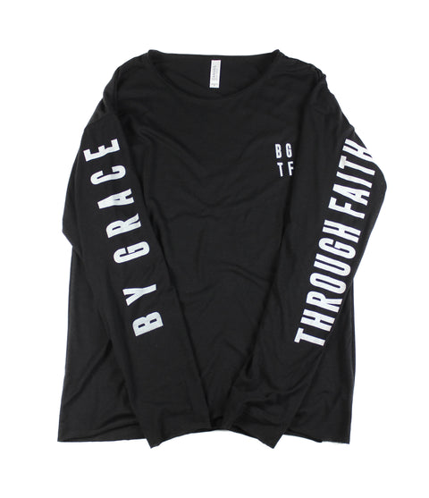 BY GRACE THROUGH FAITH BLACK RAW NECK LONG SLEEVE