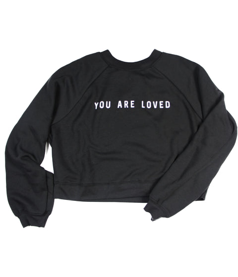 YOU ARE LOVED BLACK WOMEN'S RAGLAN PULLOVER FLEECE