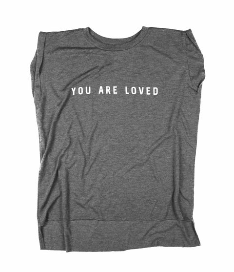 YOU ARE LOVED GREY WOMEN'S ROLLED CUFF MUSCLE T-SHIRT