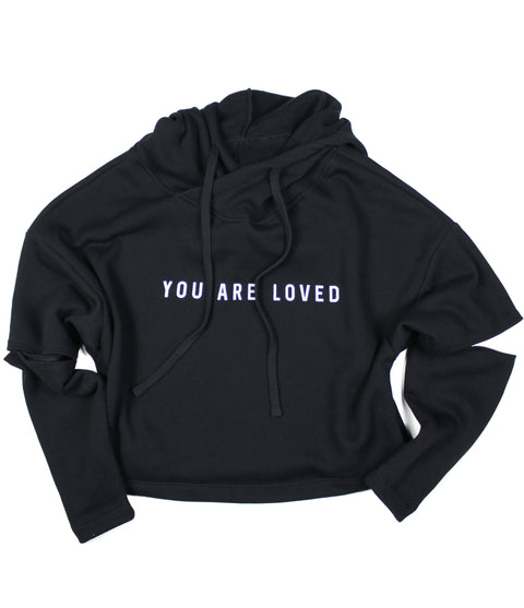 YOU ARE LOVED BLACK CUT-OUT FLEECE HOODIE