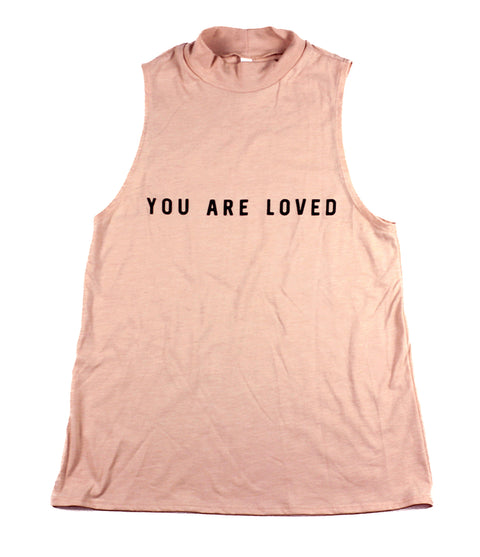 YOU ARE LOVED PEACH WOMEN'S MOCK NECK TANK