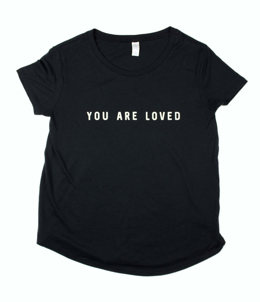 YOU ARE LOVED BLACK WOMEN'S SCOOP NECK T-SHIRT