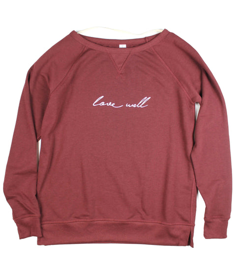 LOVE WELL VINTAGE CRANBERRY WOMEN'S FRENCH TERRY SWEATSHIRT
