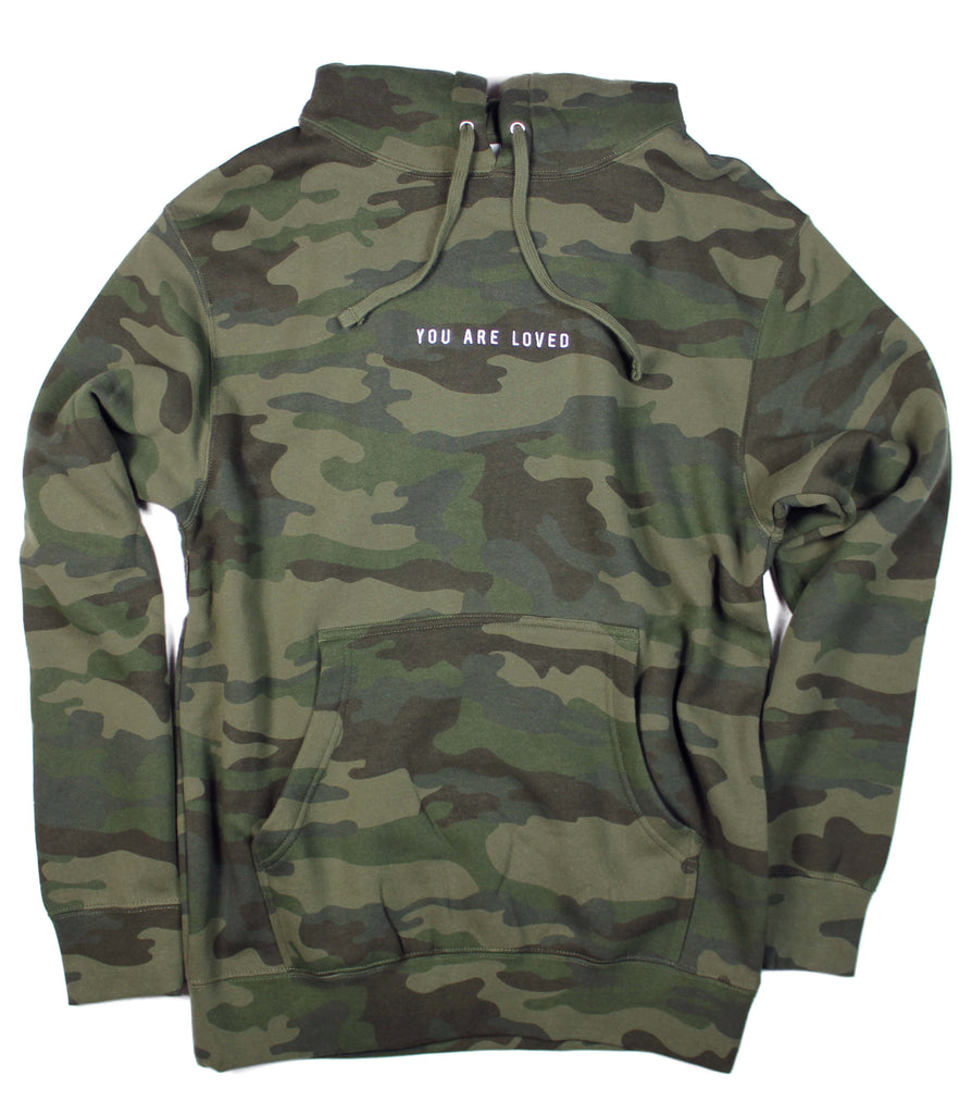 YOU ARE LOVED EMBROIDERED CAMO HOODIE
