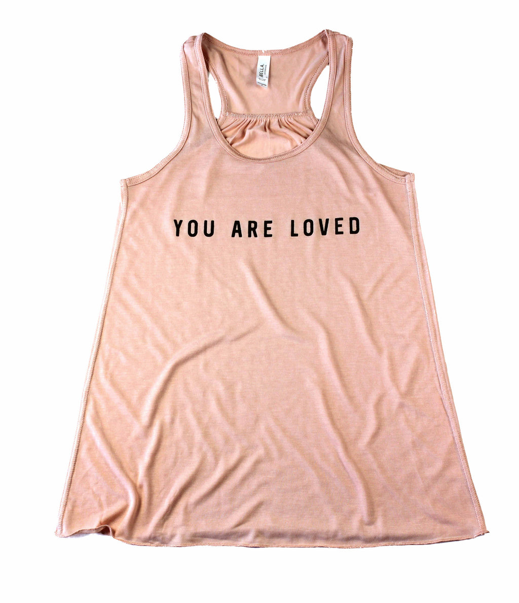 YOU ARE LOVED PEACH WOMEN'S FLOWY RACERBACK TANK
