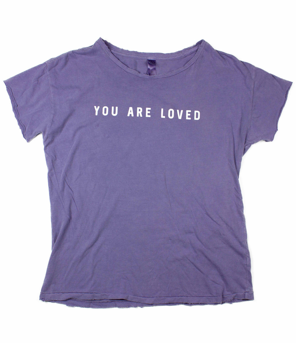 YOU ARE LOVED LILAC DISTRESSED WOMEN'S FITTED T-SHIRT