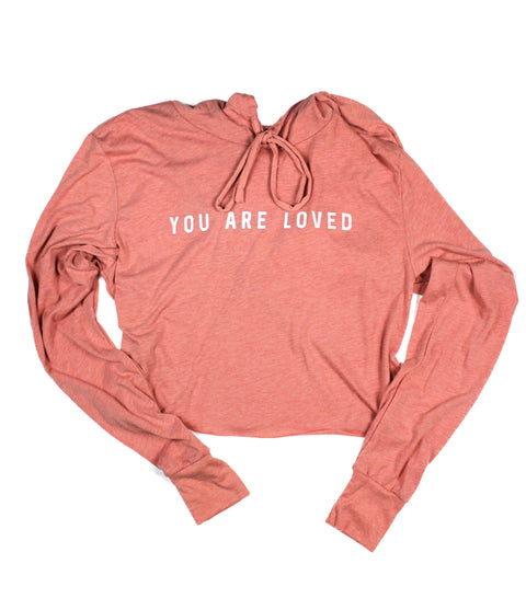YOU ARE LOVED SUNSET WOMEN'S CROPPED TRIBLEND HOODIE