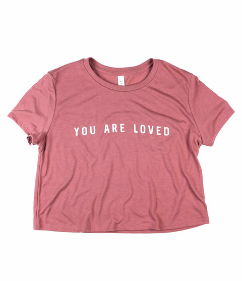 YOU ARE LOVED MAUVE WOMEN'S FLOWY CROPPED TEE
