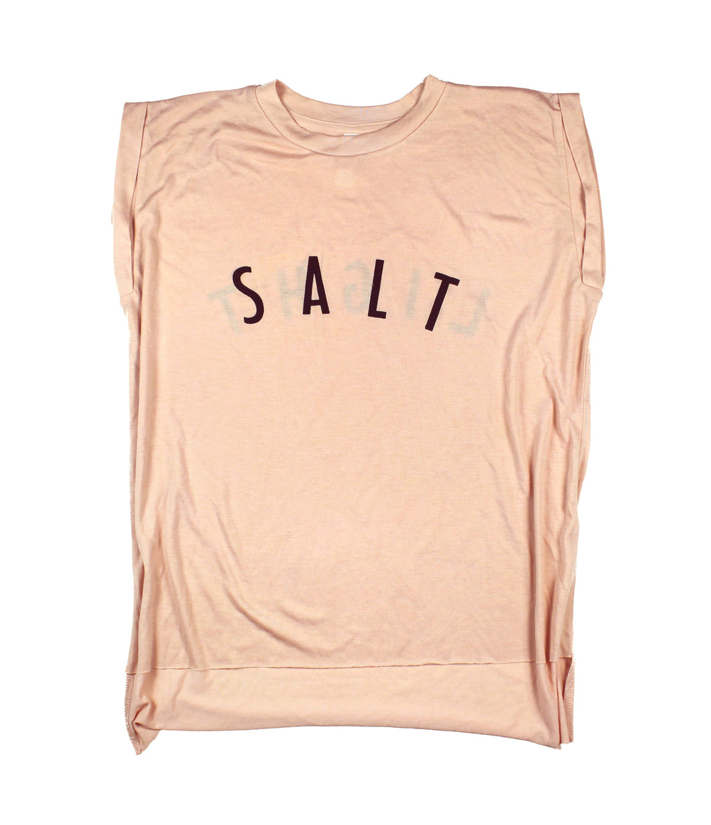 SALT + LIGHT PEACH WOMEN'S ROLLED CUFF MUSCLE T-SHIRT