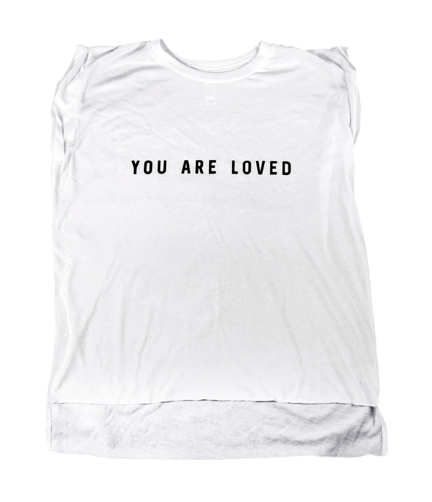 YOU ARE LOVED WHITE WOMEN'S ROLLED CUFF MUSCLE T-SHIRT