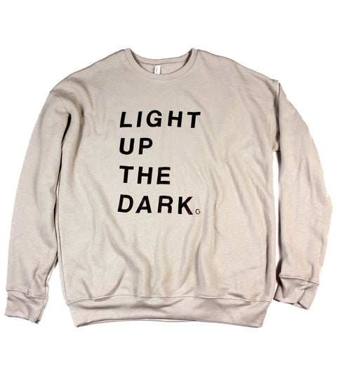 LIGHT UP THE DARK HEATHER STONE CREWNECK SWEATSHIRT