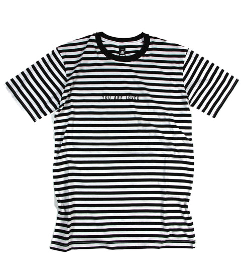 YOU ARE LOVED BLACK/WHITE STRIPE T-SHIRT