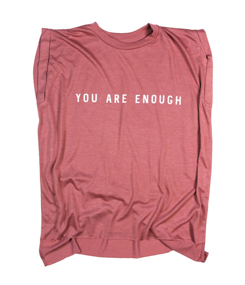 YOU ARE ENOUGH MAUVE WOMEN'S ROLLED CUFF MUSCLE T-SHIRT