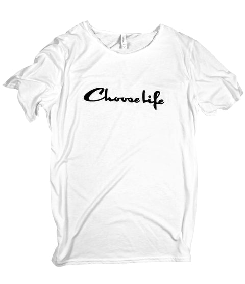 CHOOSE LIFE WHITE RAW NECK T-SHIRT