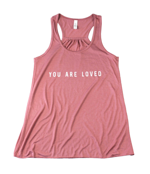 YOU ARE LOVED MAUVE WOMEN'S FLOWY RACERBACK TANK