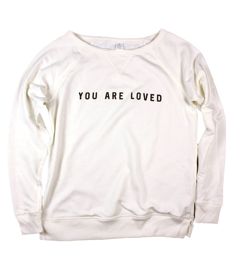 YOU ARE LOVED VINTAGE CREAM WOMEN'S FRENCH TERRY SWEATSHIRT