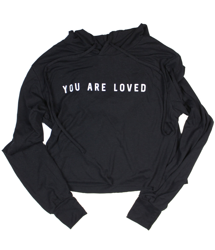 YOU ARE LOVED BLACK WOMEN'S CROPPED TRIBLEND HOODIE