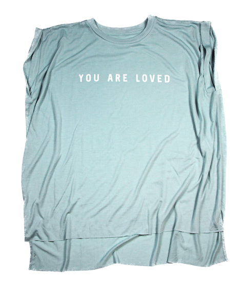 YOU ARE LOVED MINT WOMEN'S ROLLED CUFF MUSCLE T-SHIRT