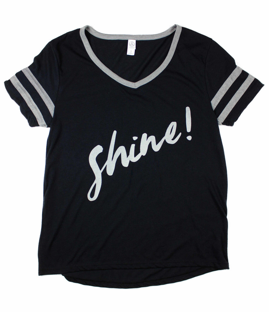 SHINE BLACK WOMEN'S VARSITY LOOSE FIT T-SHIRT