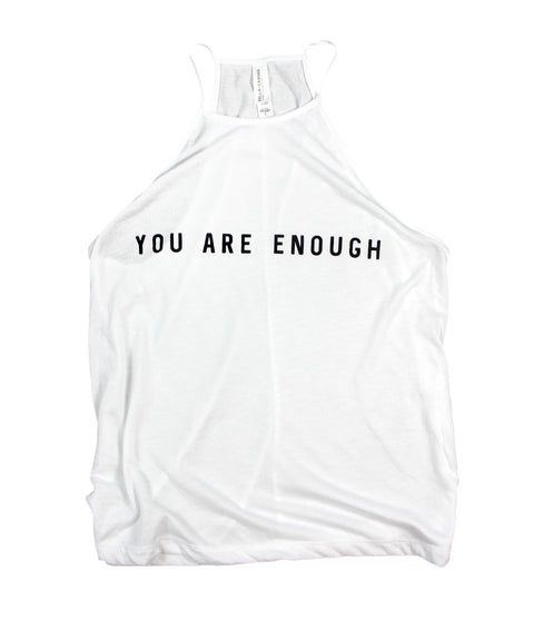 YOU ARE ENOUGH WHITE WOMEN'S FLOWY HIGH NECK TANK