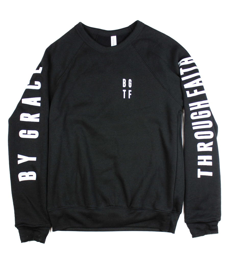 BY GRACE THROUGH FAITH BLACK CREWNECK SWEATSHIRT
