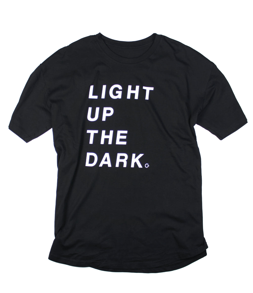 LIGHT UP THE DARK CURVED HEM T-SHIRT