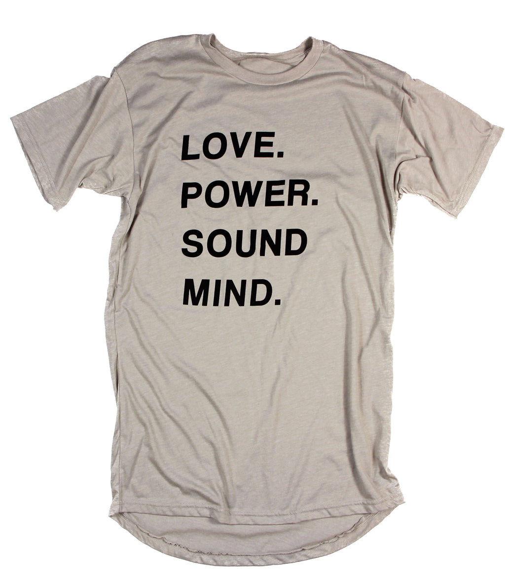LOVE POWER SOUND MIND CONCRETE CURVED HEM TEE