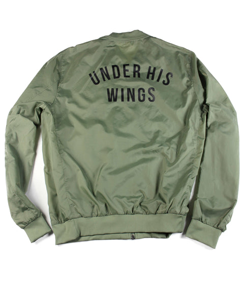 UNDER HIS WINGS MILITARY GREEN LIGHTWEIGHT BOMBER JACKET