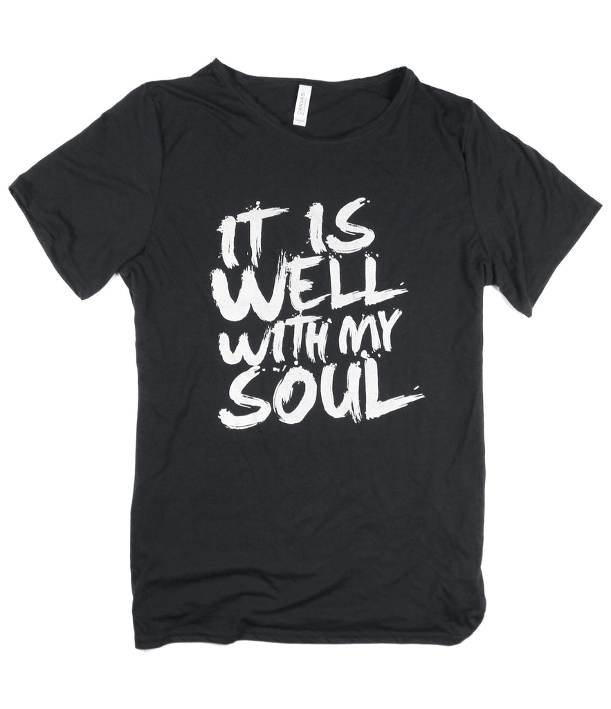 IT IS WELL BLACK RAW NECK T-SHIRT