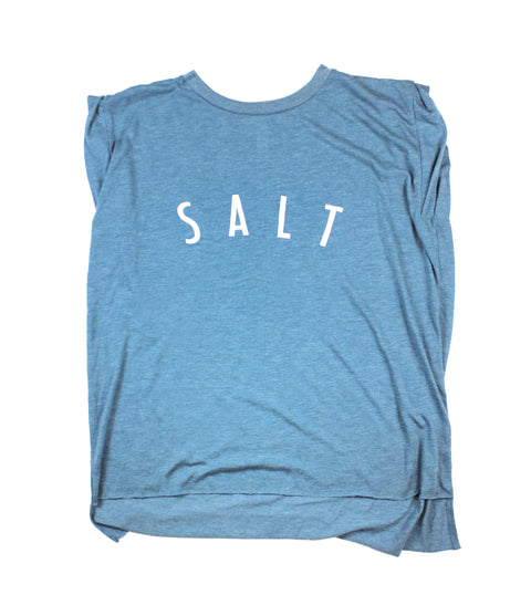 SALT + LIGHT HEATHER TEAL WOMEN'S ROLLED CUFF MUSCLE T-SHIRT