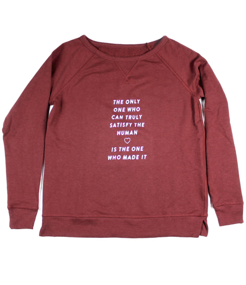 TRULY SATISFY VINTAGE CRANBERRY WOMEN'S FRENCH TERRY SWEATSHIRT