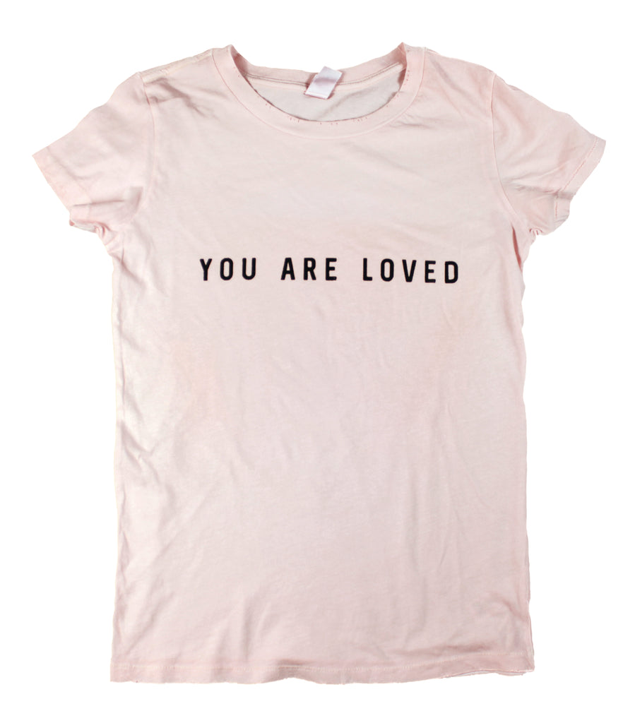 YOU ARE LOVED BLUSH PIGMENT DYED DISTRESSED WOMEN'S RELAXED T-SHIRT