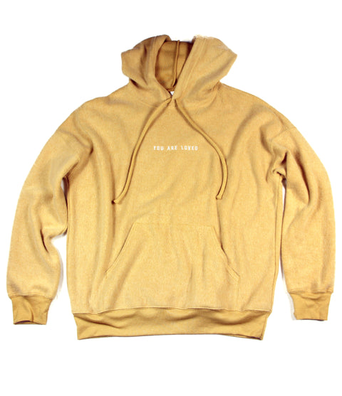 YOU ARE LOVED EMBROIDERED MUSTARD SUEDED FLEECE HOODIE