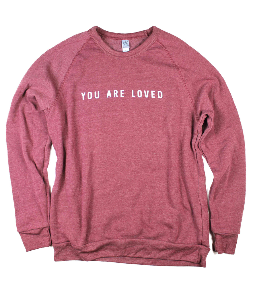 YOU ARE LOVED DUSTY RED CREWNECK SWEATSHIRT