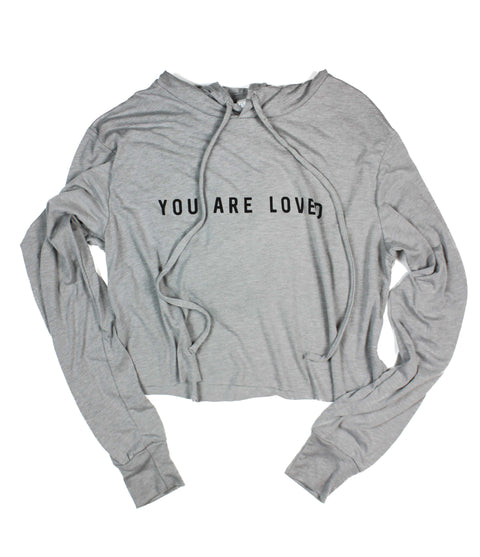 YOU ARE LOVED ATHLETIC GREY WOMEN'S CROPPED TRIBLEND HOODIE