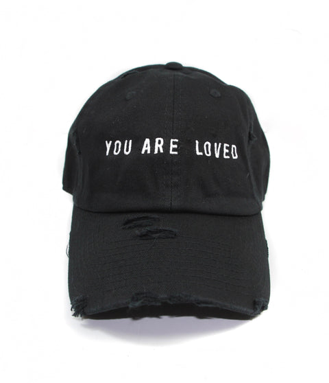 YOU ARE LOVED DISTRESSED BLACK CAP