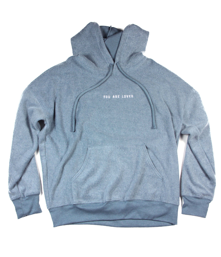 YOU ARE LOVED EMBROIDERED SLATE SUEDED FLEECE HOODIE