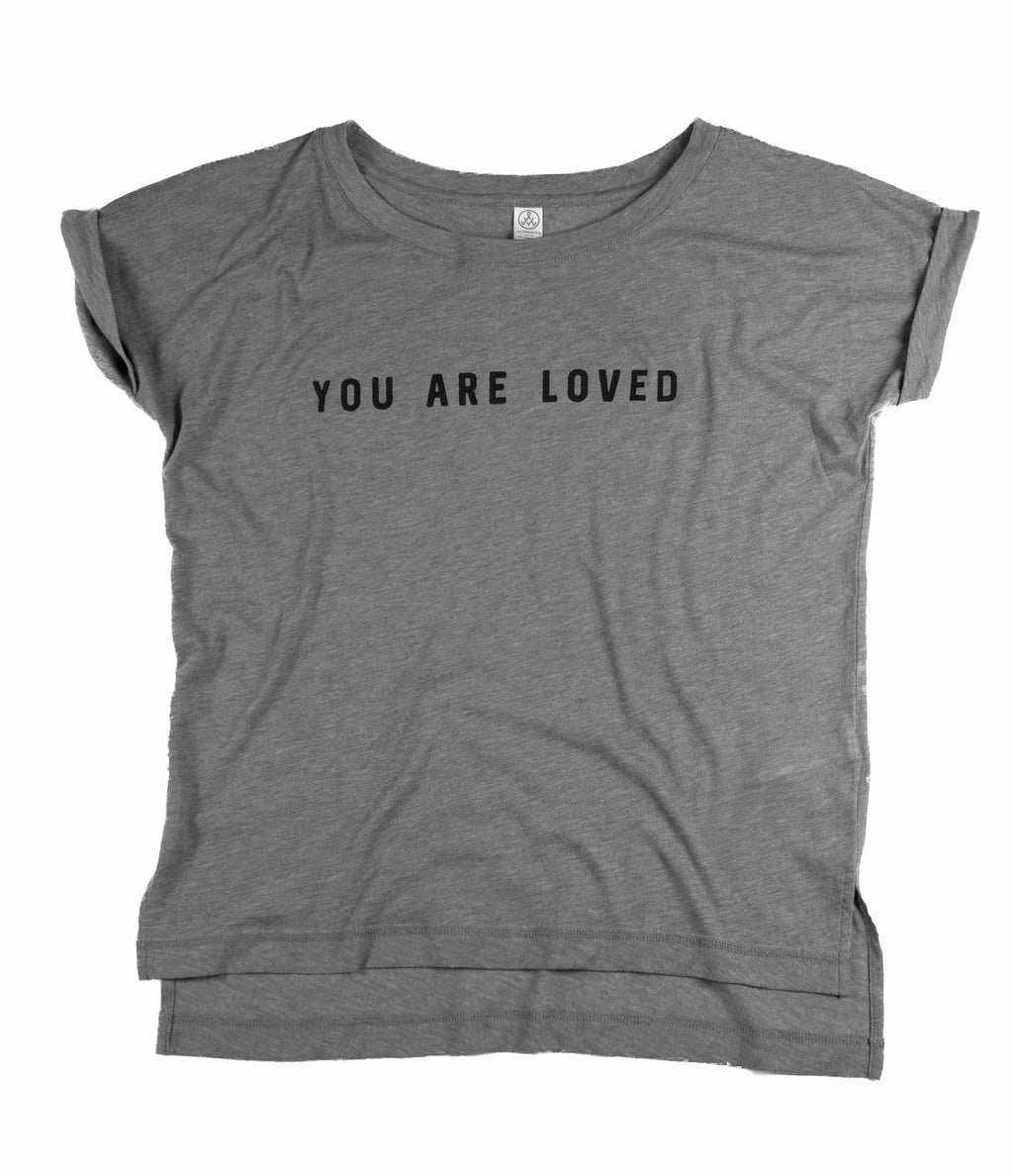 YOU ARE LOVED WOMEN'S GREY/OLIVE ROLLED-CUFF