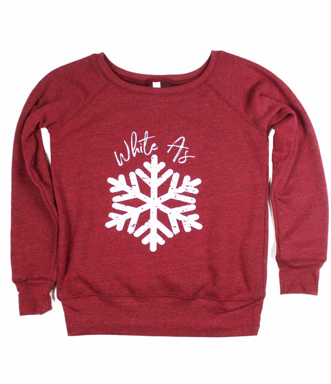 WHITE AS SNOW CRANBERRY WOMEN'S WIDE NECK SWEATSHIRT