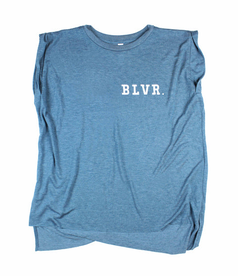 BLVR. TEAL WOMEN'S ROLLED CUFF MUSCLE T-SHIRT