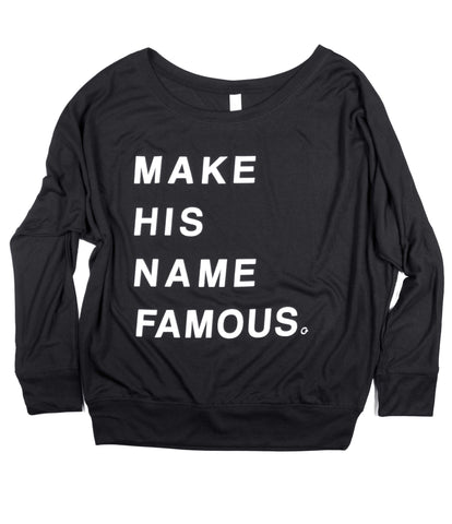 MAKE HIS NAME FAMOUS WOMEN'S BLACK OFF THE SHOULDER FLOWY LONG-SLEEVE