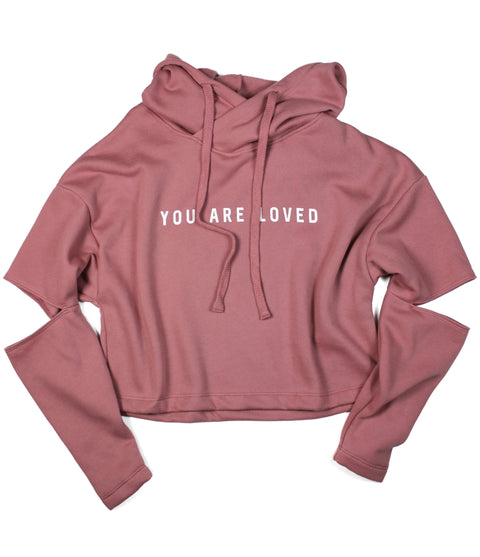 YOU ARE LOVED MAUVE CUT-OUT FLEECE HOODIE