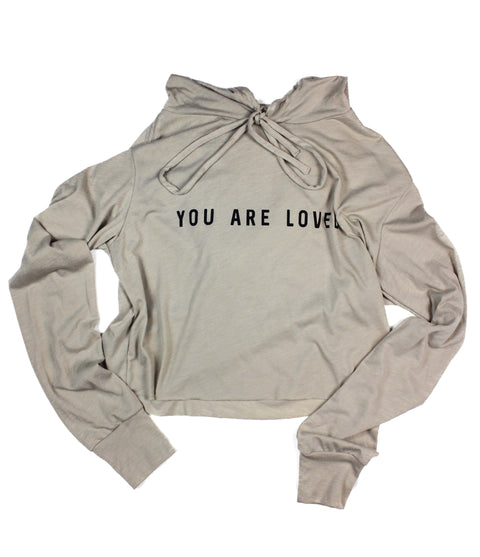YOU ARE LOVED TAN WOMEN'S CROPPED TRIBLEND HOODIE