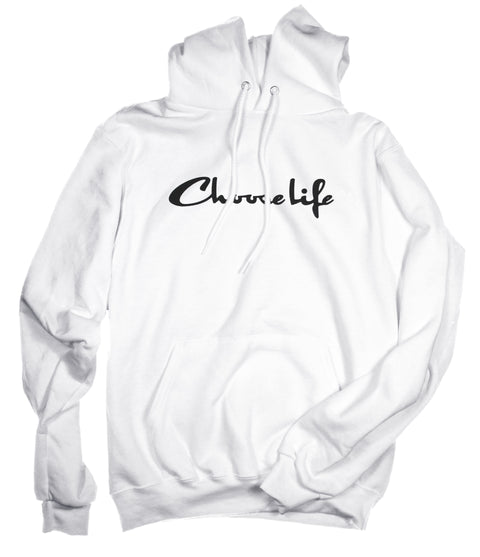 CHOOSE LIFE WHITE HOODIE