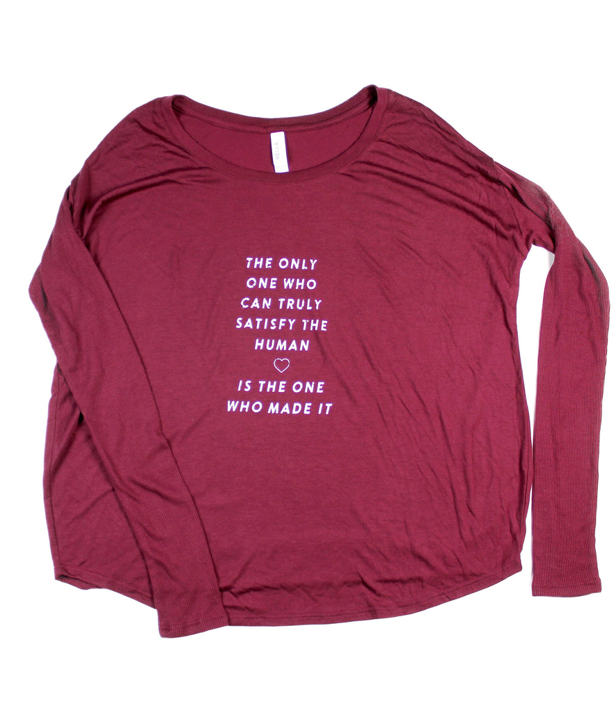 TRULY SATISFY WOMEN'S MAROON FLOWY LONG-SLEEVE