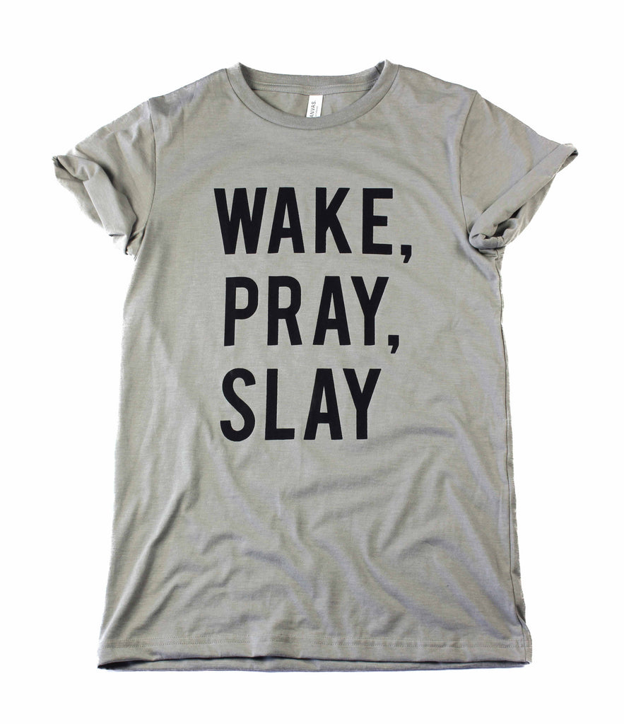 WAKE, PRAY, SLAY CONCRETE ROLLED SLEEVE T-SHIRT