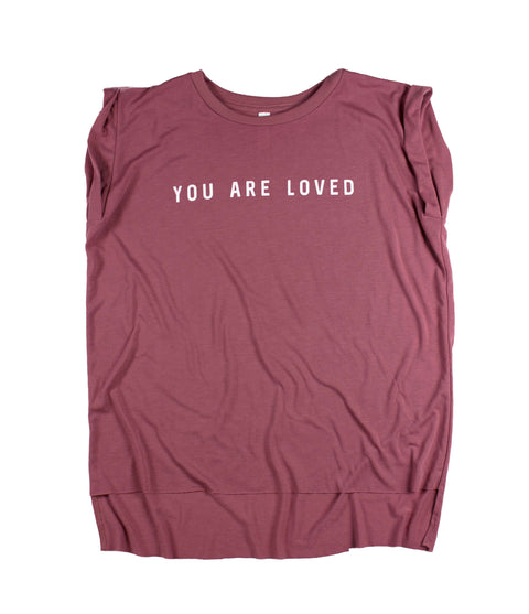 YOU ARE LOVED MAUVE WOMEN'S ROLLED CUFF MUSCLE T-SHIRT