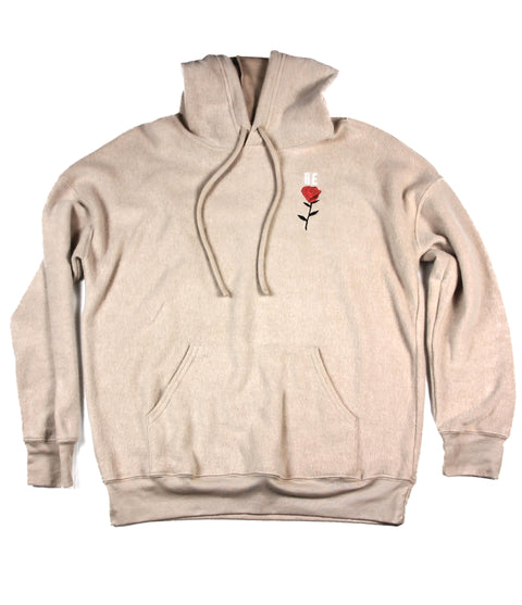 HE ROSE EMBROIDERED TAN SUEDED FLEECE HOODIE