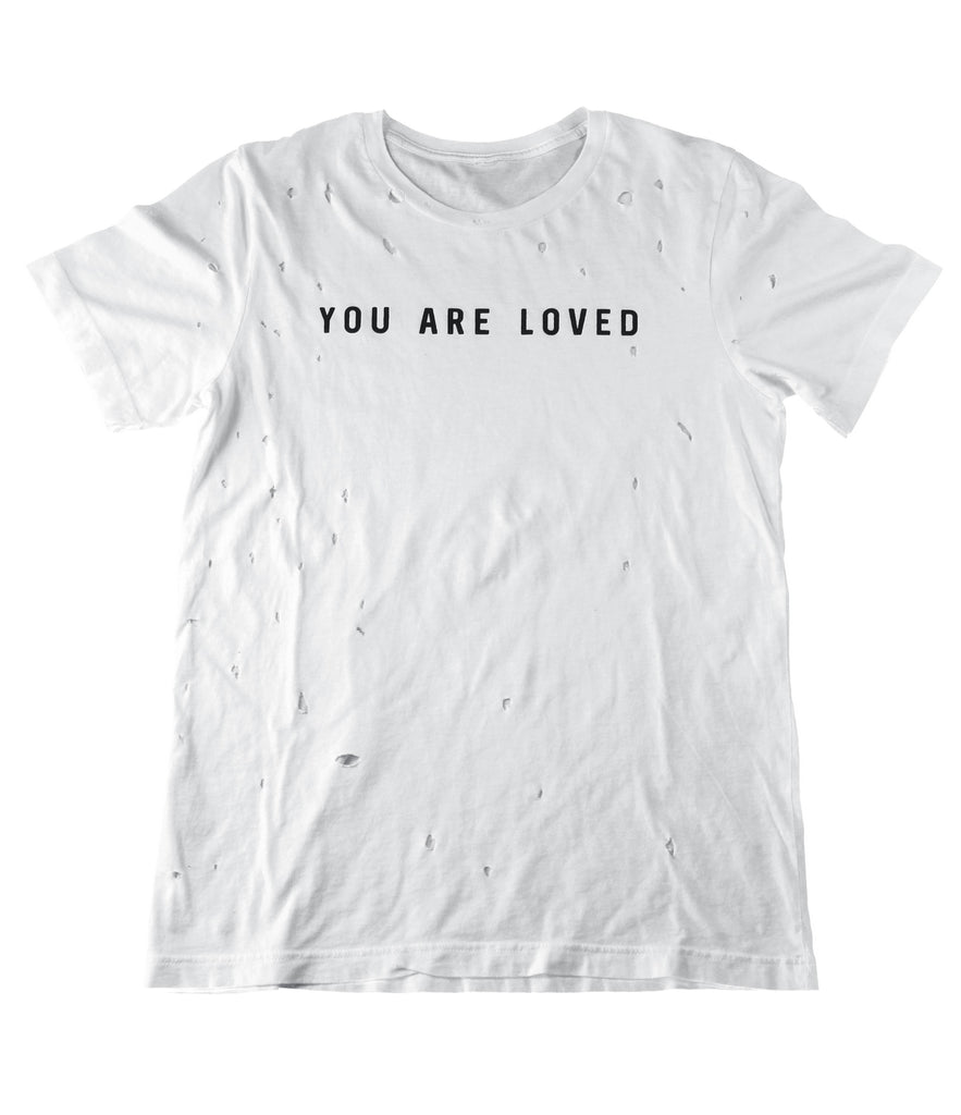 YOU ARE LOVED WHITE VINTAGE DISTRESSED T-SHIRT